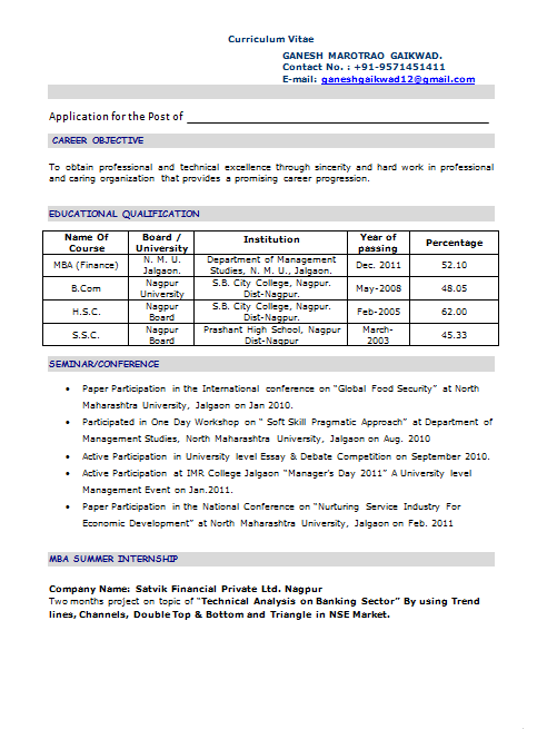 resume title for mba experience