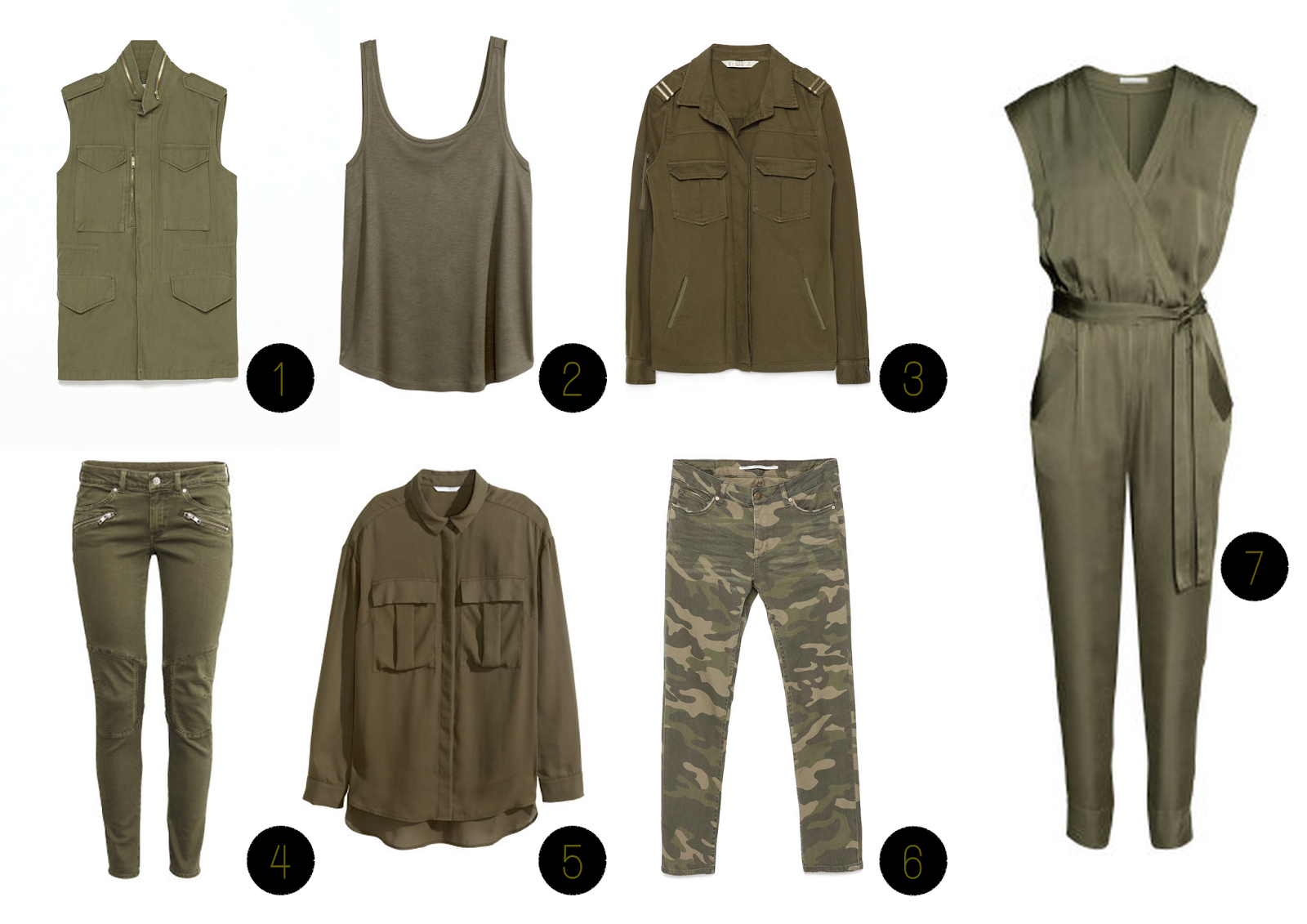 TheBlondeLion Inspiration Trend Outfit Spring Summer khaki olive camouflage Shops Zara HM