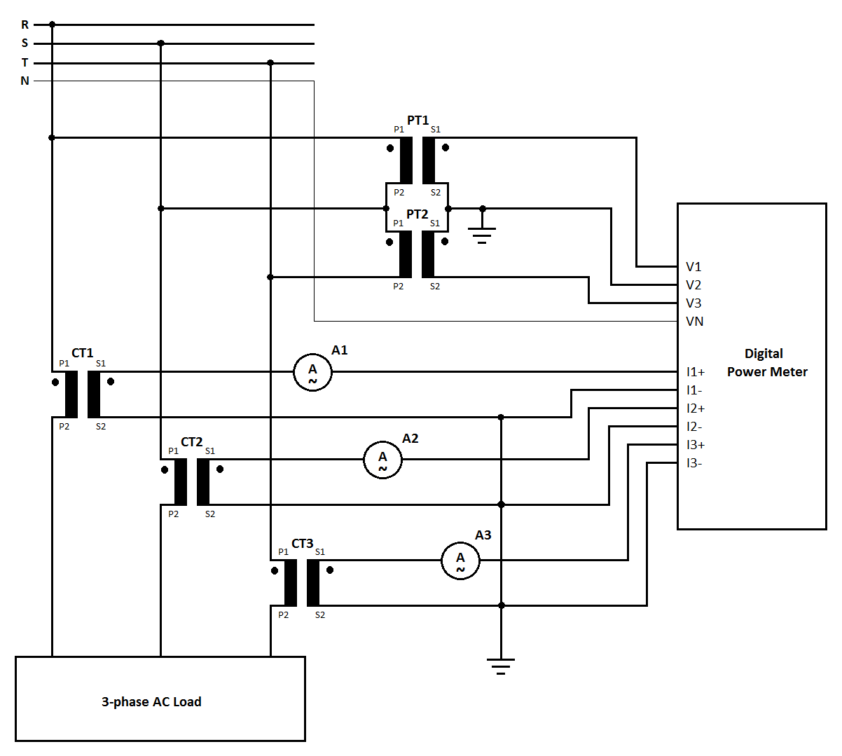 picture 1 measurement circuit for 3 phase ac power 3ct 2pt connection  [ 1202 x 1079 Pixel ]