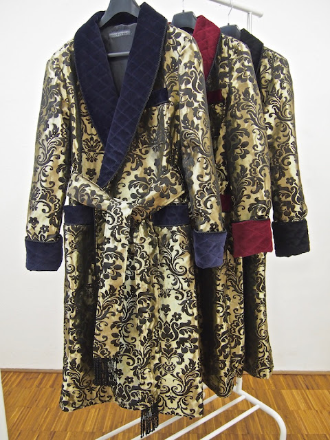 Mens silk dressing gown luxury quilted robe paisley housecoat warm long