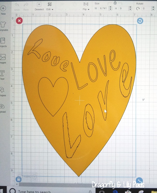 Love Love Love Heart shaped Matte Gold Burlap Art made with Cricut Maker