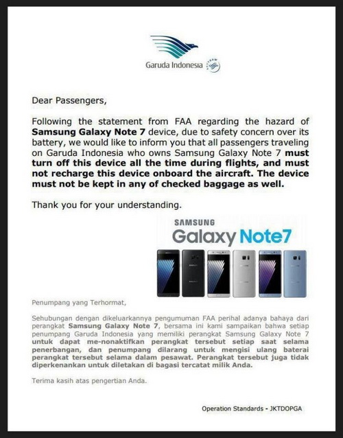 Samsung Galaxy Note 7 Dilarang di Pesawat