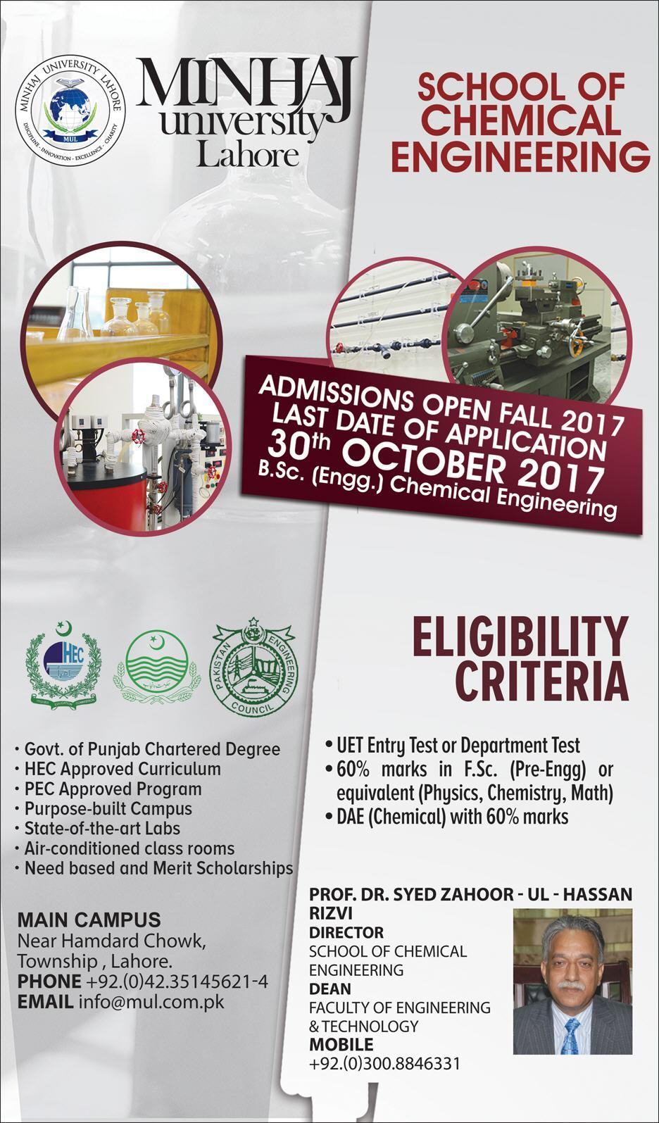 Admissions Open in Minhaj University Lahore - 2017