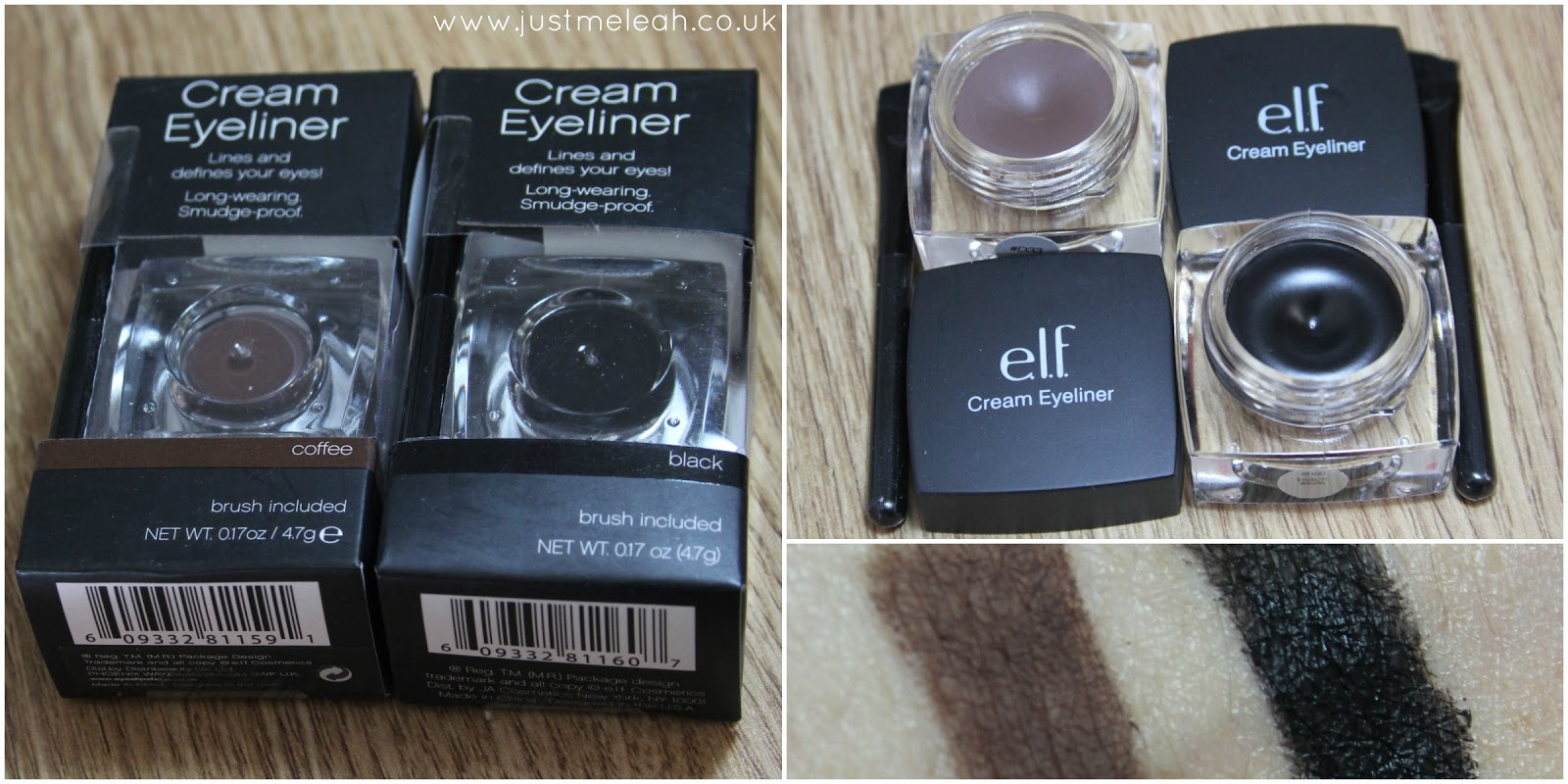 ELF STUDIO CREAM EYELINERS IN COFFEE AND BLACK