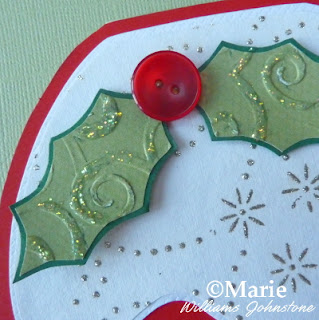 Embossed holly with button and glitter detail