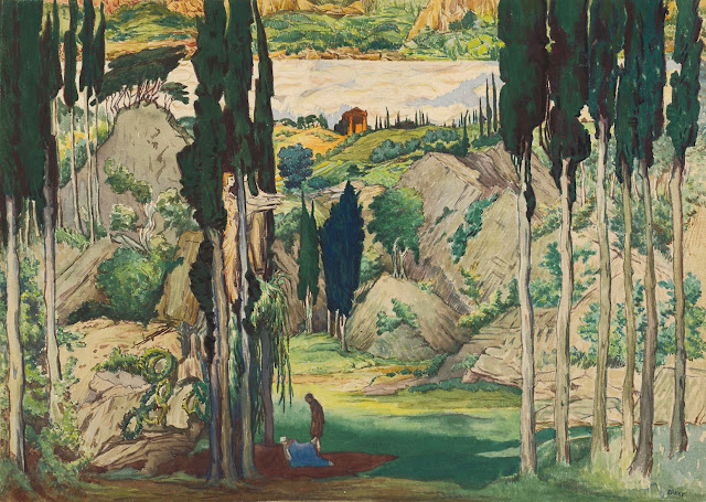 Set design by Léon Bakst for the world premiere of Daphnis et Chloé, Paris 1912.