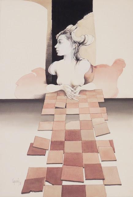 Glauco Capozzoli uruguayo dibujo coloreado desnudo surrealista