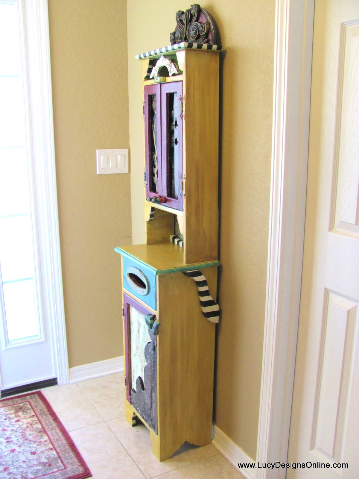 hand painted funky cabinet makeover, whimsical, colorful, recycled