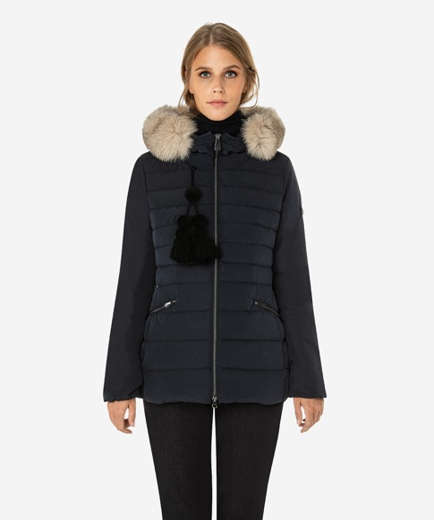 Slim fit down jacket with fur-Price:$790.00