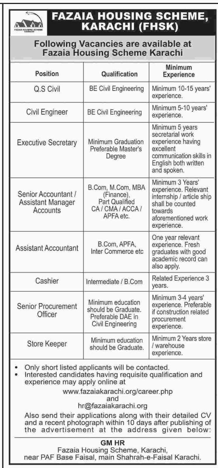 FHSK Jobs In Fazaia Housing Scheme Karachi 26 Sep 2017