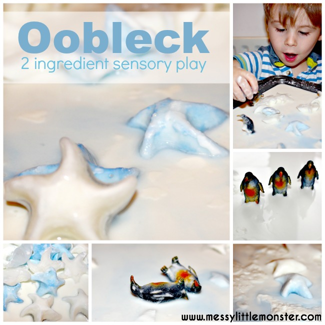 Frozen oobleck sensory play with a winter and penguin theme.. Simple science for kids, preschoolers, toddlers, eyfs.