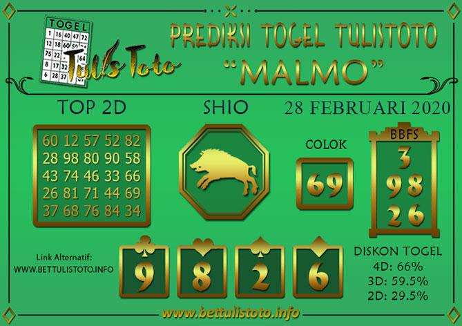 Prediksi Togel MALMO TULISTOTO 28 FEBRUARI 2020