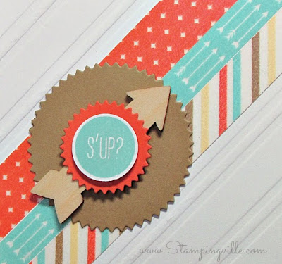 Stampin' Up! die cut Starburst washi tape card | Stampingville #papercrafts #cardmaking #StampinUp