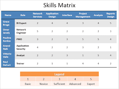 IT Skills Matrix Template,IT Skills Matrix Template in PPT