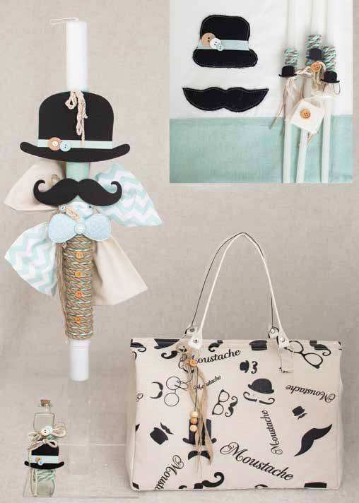 Mustache Christening set for boys E818