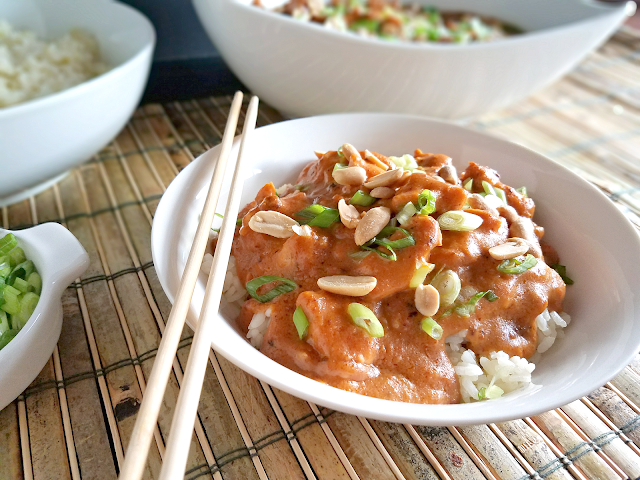 This Slow Cooker Thai Peanut Chicken is different from most similar recipes because it's so flavorful! Thai Red Curry Paste adds a burst of flavor that marries perfectly with the peanut butter and coconut milk. This is so easy to make, yet nutritious and satisfying! Gluten-free, dairy-free, and low-carb with a Paleo option.