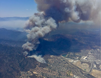 View west over Duarte toward the Fish Fire shortly after it started on Monday, June 21, 2016 – Photo NWS Los Angeles