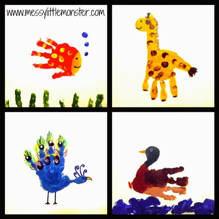 Handprint animal canvas ideas. Personalilsed gift ideas made by toddlers and preschoolers.