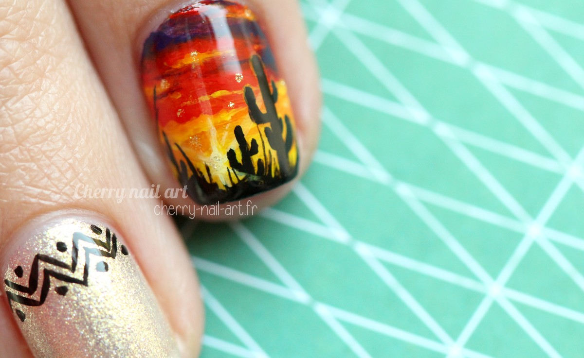 nail-art-coucher-de-soleil-desert-cactus-sunset-été