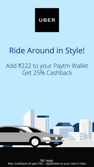 Uber Cashback offer for Paytm Wallet Users