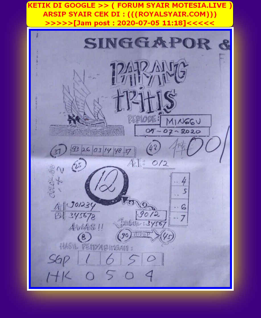 Kode syair Singapore Minggu 5 Juli 2020 44