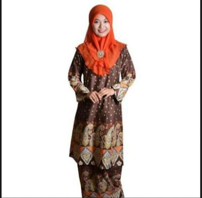 Baju kurung syari stelan batik print