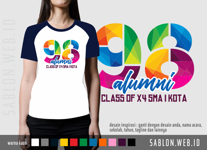 Alumni Angkatan Sekolah Tahun 98 - Desain Sablon Kaos Reuni - KaosReuni.web.id