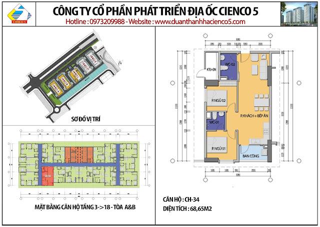 Mặt bằng căn hộ CH34 tầng 3-18 tòa HH02A&B