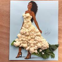Arte con collage de comida - coliflor