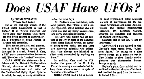 Does The Air Force Have UFOs - The Tampa Tribune 1-16-1974