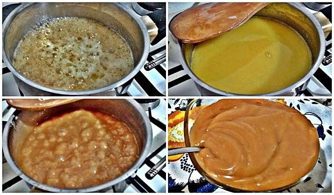 Preparación de la salsa de toffe y miel