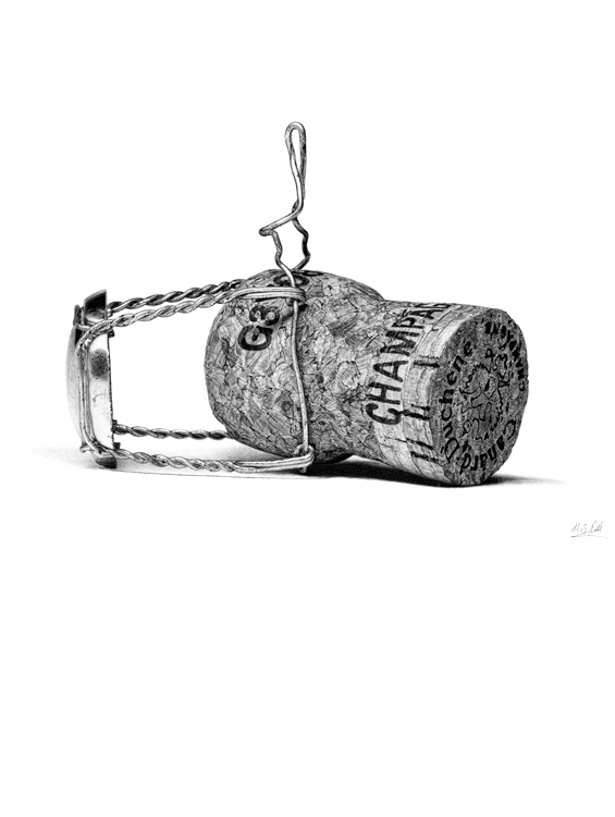 08-Champagne-Cork-Pocket-Watch-Graphite-Charcoal-Pen-and-Ink-drawings-www-designstack-co
