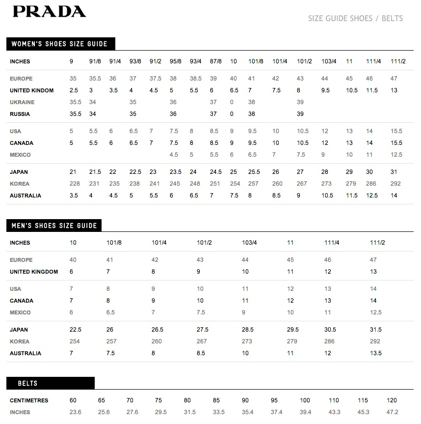 Prada Mens Shoes Size Chart