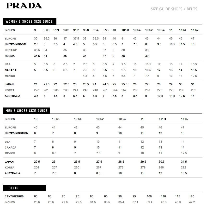 Prada Womens Shoes Size Chart