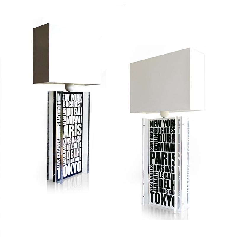 acrylic typographic table lamps