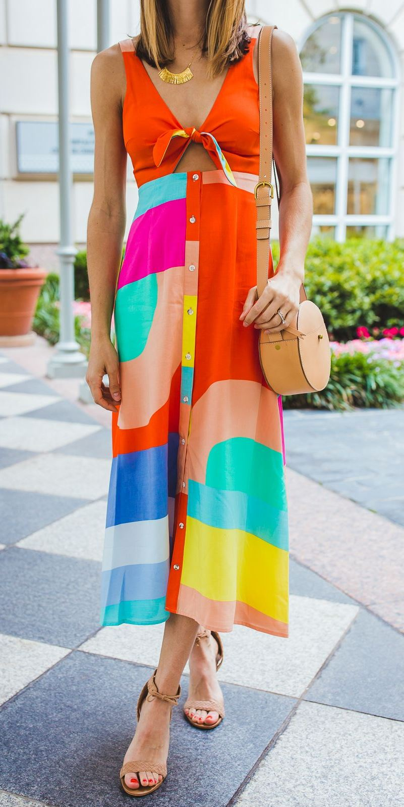 gorgeous summer outfit idea / nude round bag + colorful dress + sandals