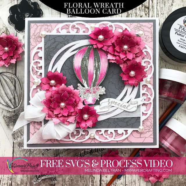 Shimmerz Paints DT| FREE SVG & VIDEO| Floral Wreath Balloon Card