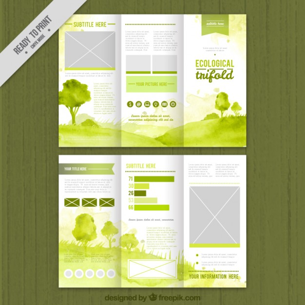 Brochure Design Green watercolor ecological trifold - Free Vector