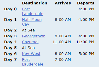 Destination, Arrives, Departs, Fort Lauderdale, Half Moon Cay, At Sea, Georgetown, Cozumel, At Sea, Key West, Fort Lauderdale