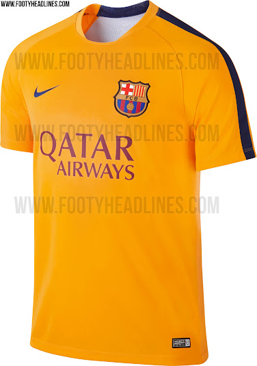 47a34faa857 FC Barcelona 15-16 Pre-Match and Training Shirts Revealed - Footy ...