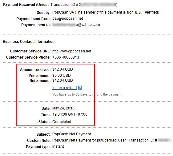 Pembayaran Popcash 24 Mei 2016