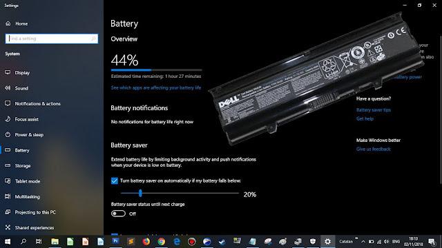 Baterai laptop merk Dell