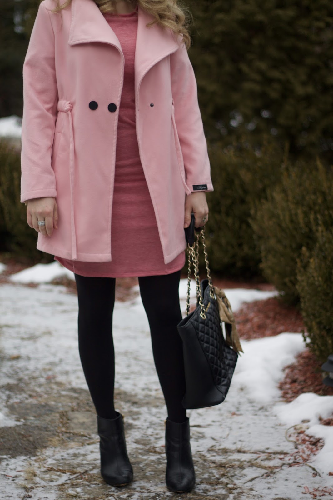 pink dress, pink coat, black booties, black quilted leather tote, Valentine's Day outfit with pink dress