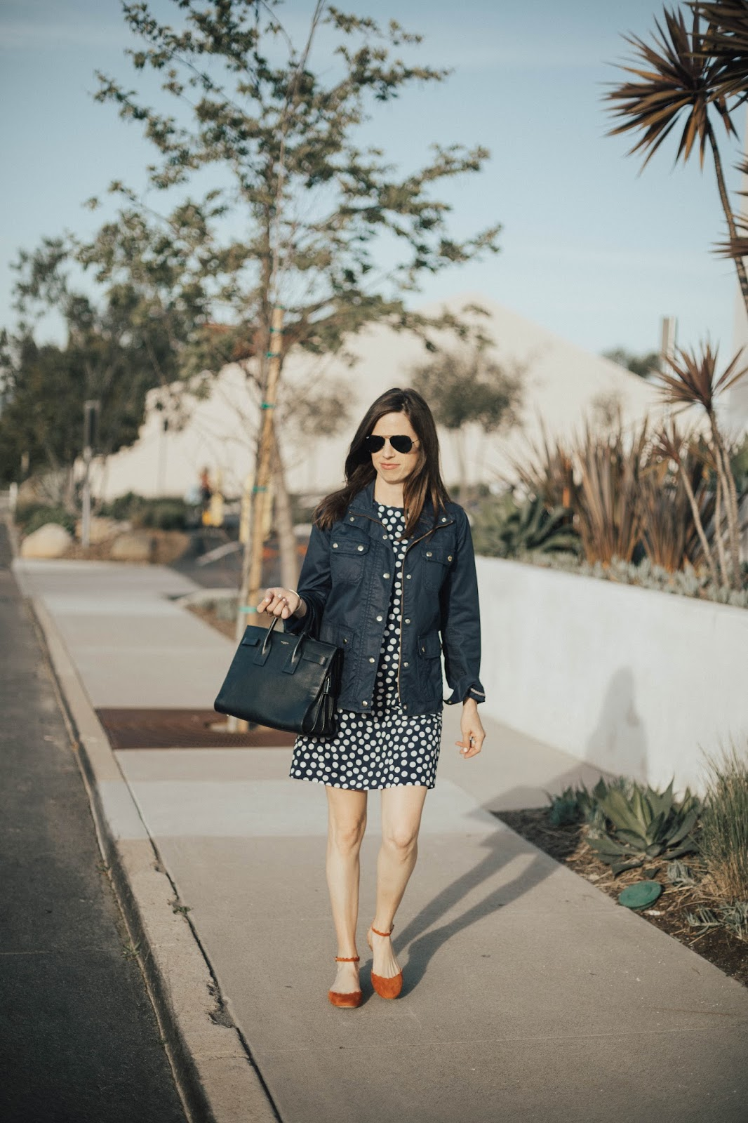 navy polkadot dress outfit