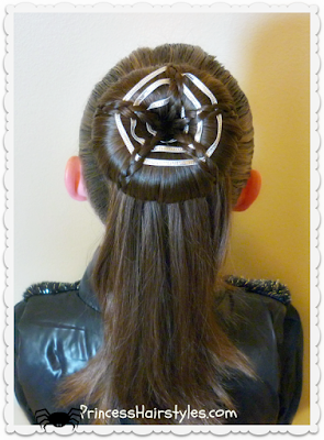 Spider web hairstyle tutorial for Halloween