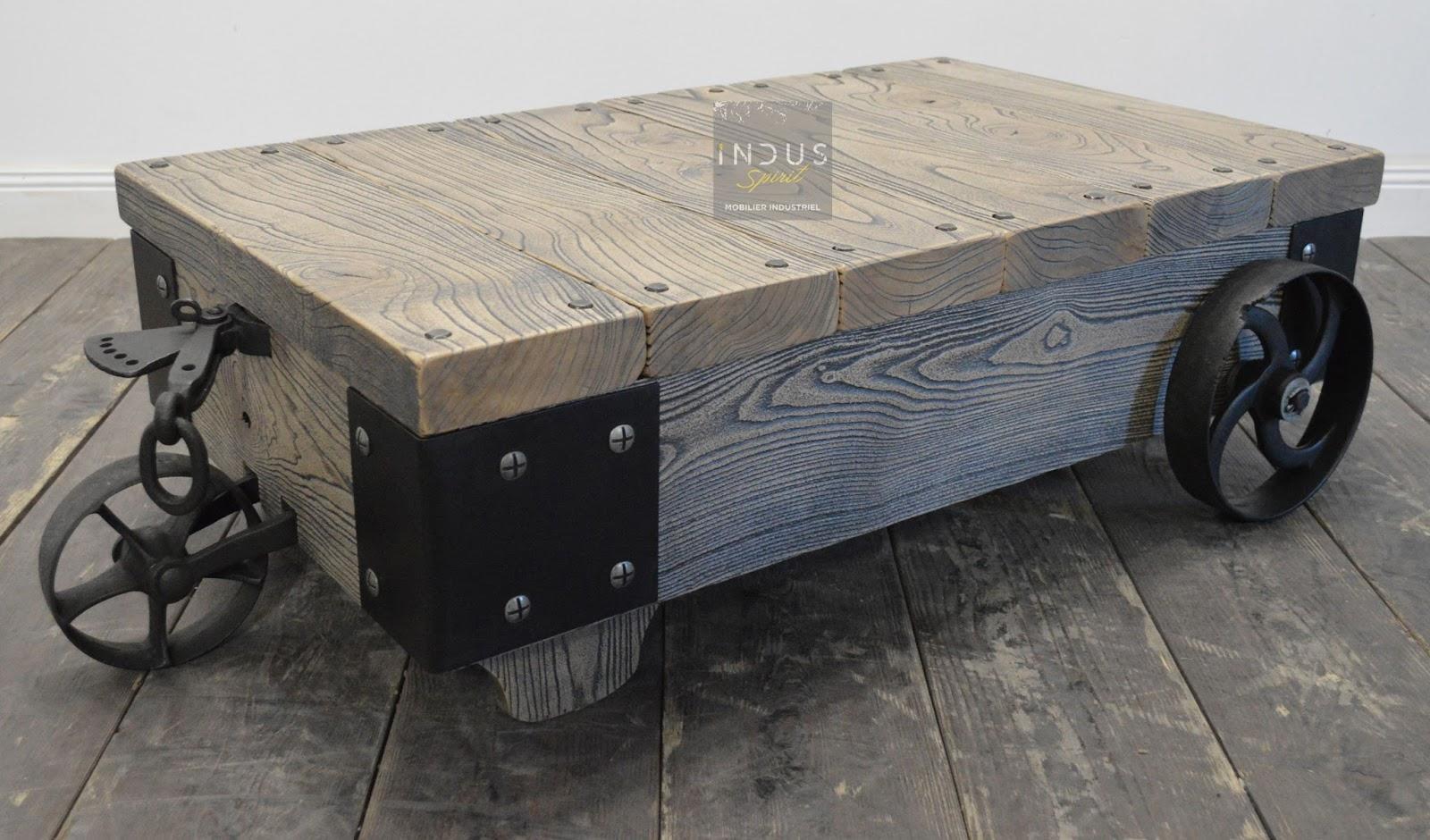 chariot table basse industrielle. Black Bedroom Furniture Sets. Home Design Ideas