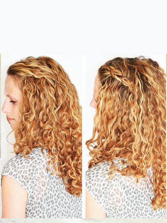 Side braid for curly hair: