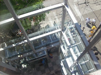 A view from above a glass elevator