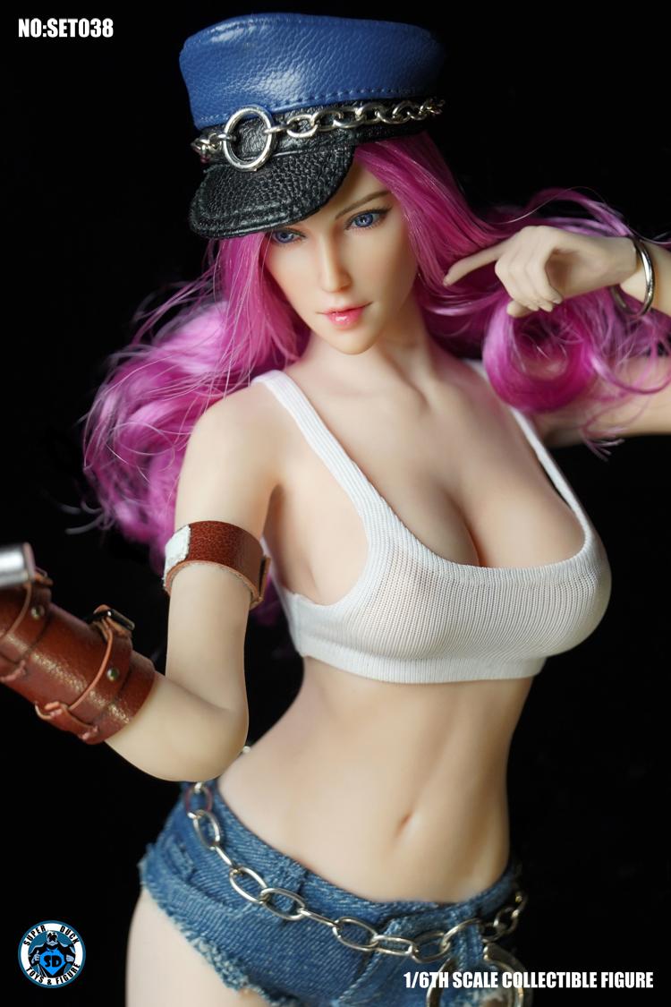 1//6 Scale Super Duck Figures Female Fighter Poison Head Sculpt w// Pink Hair