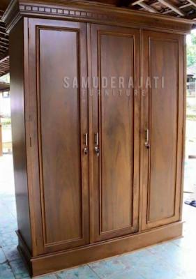 Model lemari jati 3 pintu minimalis terbaru